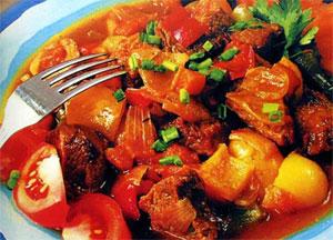 Мясо с овощами в соусе Мехикано