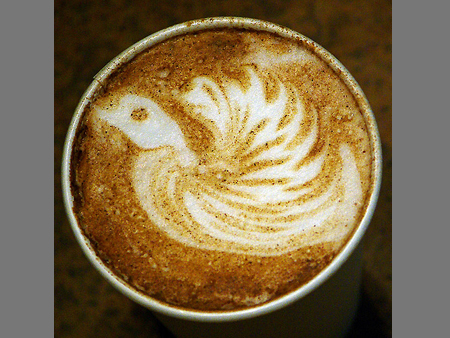 рисунок на кофе птица