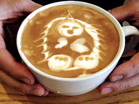 рисунок на кофе ежик