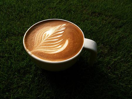 рисунок на кофе лист