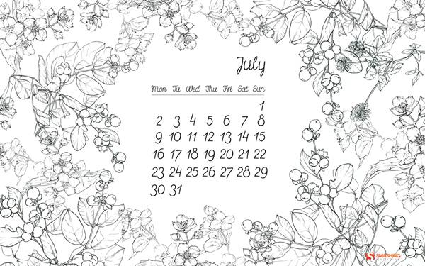обои с календарем на июль