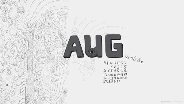 обои с календарем август