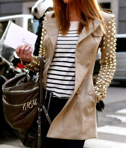 9c80ba1498d8 Куртки, свитера, пиджаки, модные сатчелы, обувь, … все это украшается шипами  и клепками. Они могут быть массивными, либо мелкими.