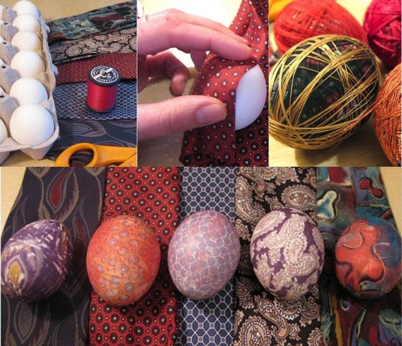 Как красиво покрасить яйца на пасху тканью своими руками