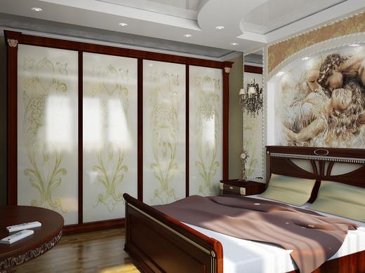 Спальня с использованием фрески на стене