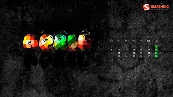 стильные обои с календарем апрель