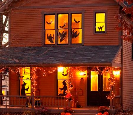 декор окон на Хэллоуин