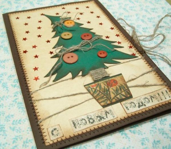 новогодние открытки из пуговиц