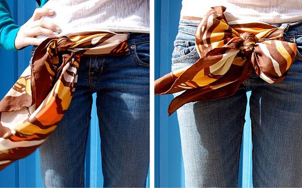 как носить шарф на поясе