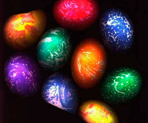 покраска яиц с маргарином