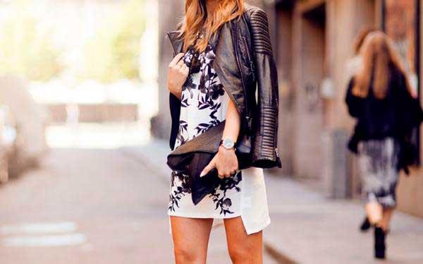 весеннее платье с кожаной курткой