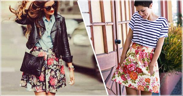 как носить юбку с флористическим принтом