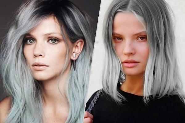 окрашивание волос в серый