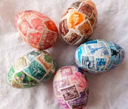 пасхальные яйца с почтовыми марками